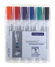 Staedtler Lumocolor Whiteboard Markers, Chisel Tip, Wallet Of 6