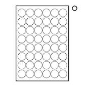 Printable Labels, White, Round ,48 Per Sheet, 32mm dia, 20 Sheets