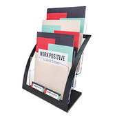 A4, Brochure Holder,Free standing,3 Tier x 1 Wide, Black with built in business card holders