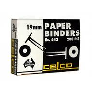 Celco 643 Paper Binders, 19mm, 200 Pieces