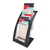 DLE 1 Pocket Brochure Holder, 3 Tier x 1 Wide, Free Standing, Black