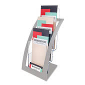 DLE 1 Pocket Brochure Holder, 3 Tier x 1 Wide, Free Standing, Silver