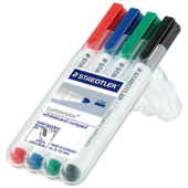 Staedtler Lumocolor Whiteboard Compact Markers, Pack Of 4